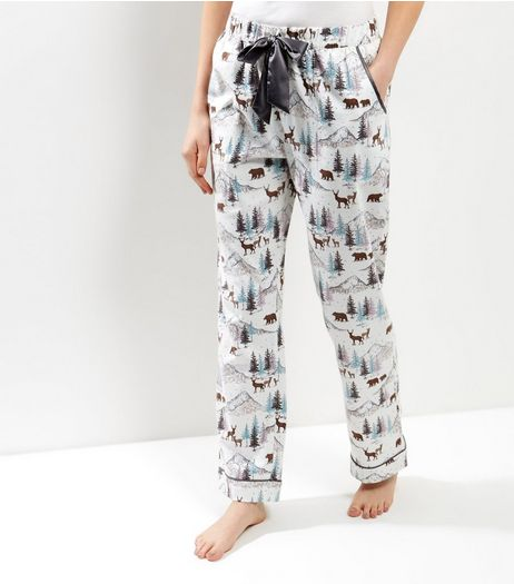 White Flannel Christmas Woodland Cotton Pajama Bottoms | New Look