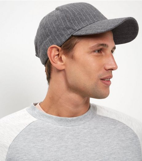 Grey Pinstripe Cap | New Look