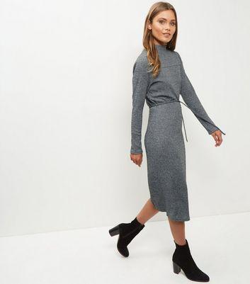 Mela Grey Knitted Funnel Neck Dress