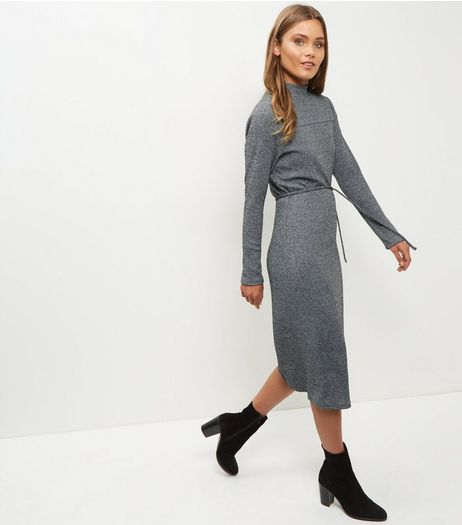 Mela Grey Knitted Funnel Neck Dress | New Look