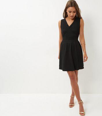 mela-black-beaded-trim-v-neck-dress