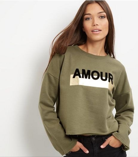 Khaki Amour Print Foil Panel Sweater  | New Look