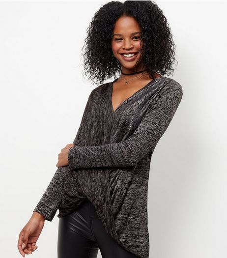 Mela Grey V Neck Knot Front Jumper | New Look