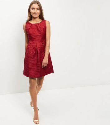 Mela Red Pleated Skater Dress