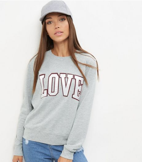 Grey Love Print Sweater  | New Look