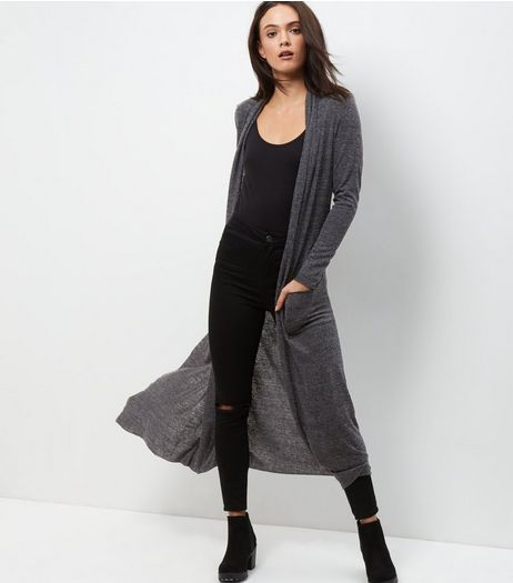 Mela Grey Knitted Maxi Cardigan | New Look