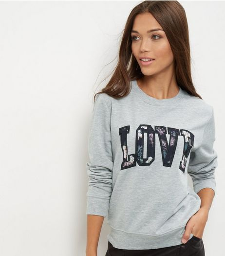 Grey Love Floral Print Sweater  | New Look