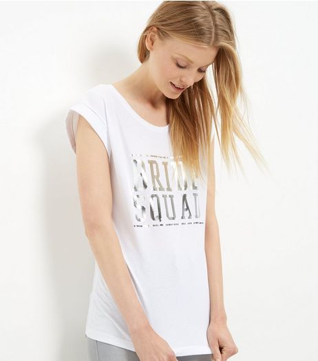 White Bride Squad Foil Roll Sleeve T-Shirt  | New Look
