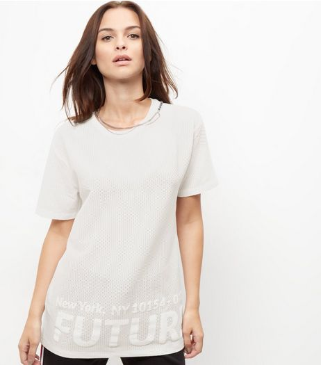 White Mesh Future Print Longline T-Shirt  | New Look