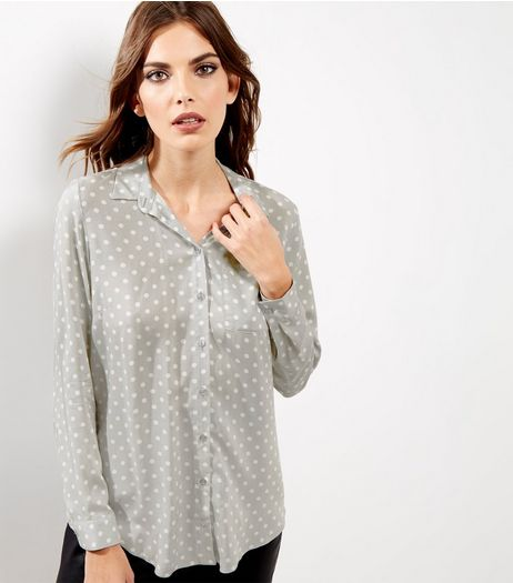 Light Grey Spot Print Longline Shirt  | New Look