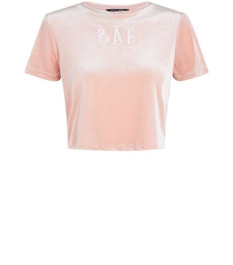 Teens Shell Pink Bae Embroidered Velvet T-shirt | New Look