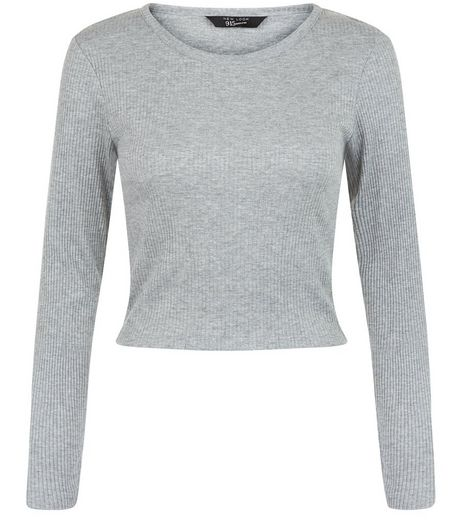 Teens Grey Crew Neck Long Sleeve Crop Top | New Look