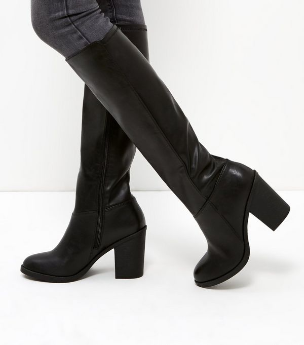 Black Leather-Look Stretch Knee High Boots