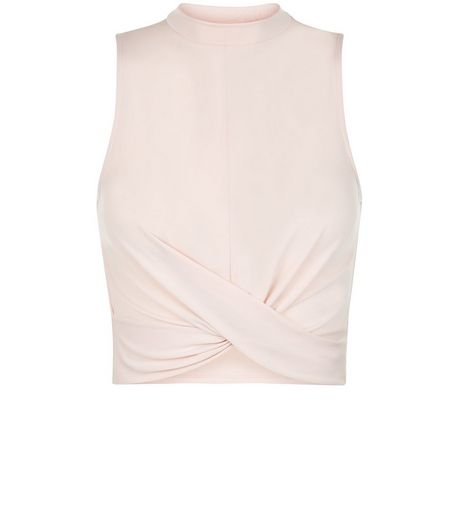 Teens Shell Pink Twist Front Sleeveless Turtle Neck | New Look