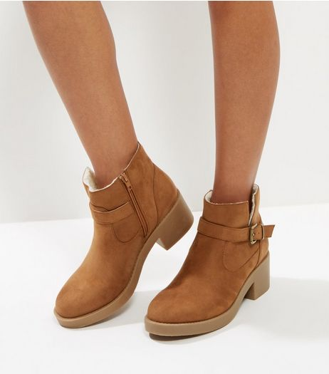 Tan Suedette Buckle Block Heel Chelsea Boots | New Look