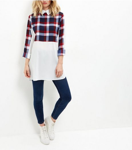 AX Paris White Check Panel Longline Shirt | New Look