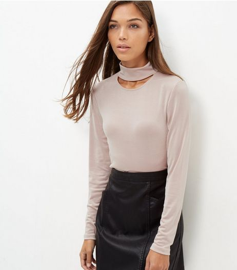 Shell Pink Cut Out Choker Long Sleeve Top  | New Look