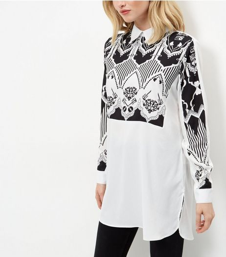 AX Paris White Abstract Print Longline Shirt  | New Look