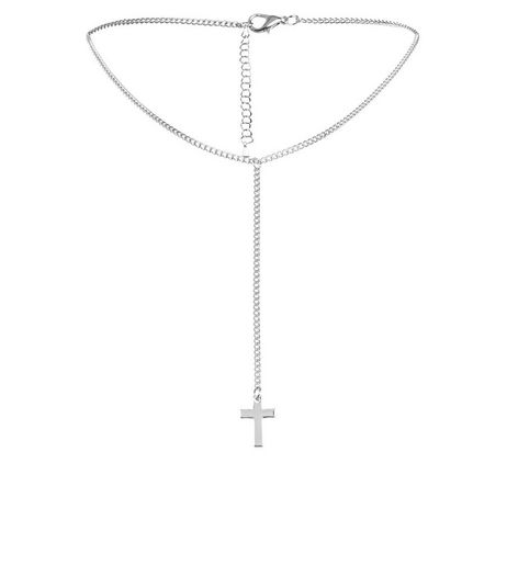 Silver Cross Long Drop Choker | New Look
