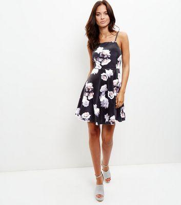 Black Velvet Floral Print Strappy Skater Dress