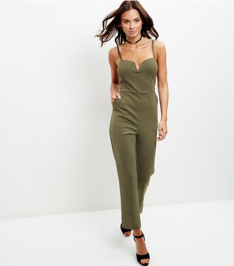 Khaki Notch Neck Jumpsuit  | New Look