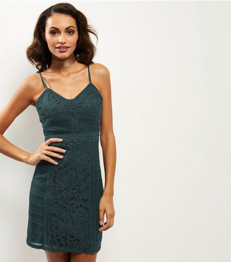 Dark Green Lace Bodycon Dress | New Look