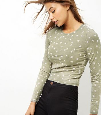 Product photo of Khaki acid wash star print long sleeve top