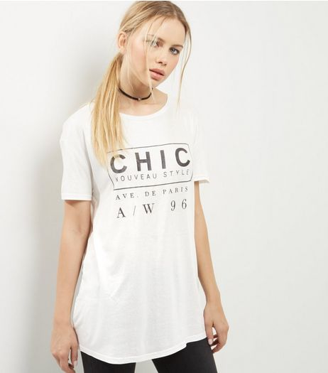 White Foil Chic Print T-Shirt | New Look
