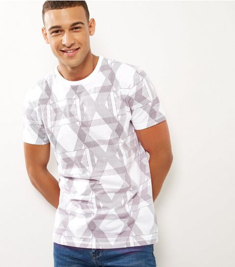White Cotton Geo Print Short Sleeve T-Shirt  | New Look