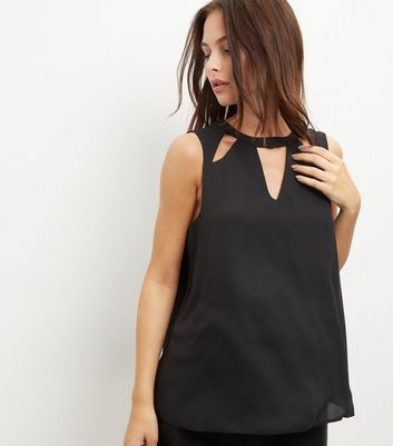 Black Cut Out Button Back Longline Top