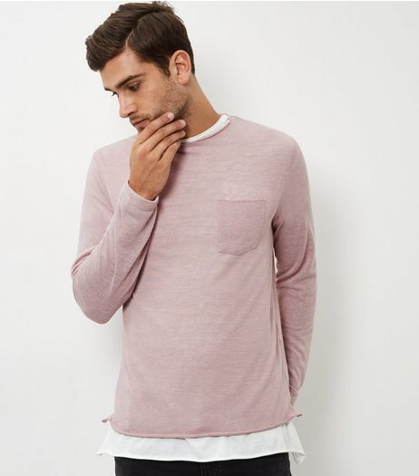 Pink Long Sleeve Slouch T-shirt | New Look