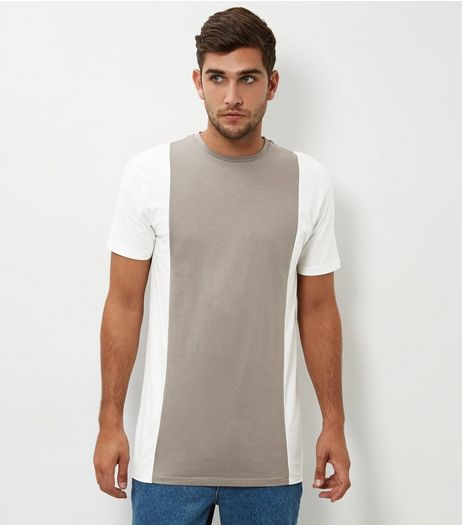 Stone Colour Block Longline T-Shirt | New Look