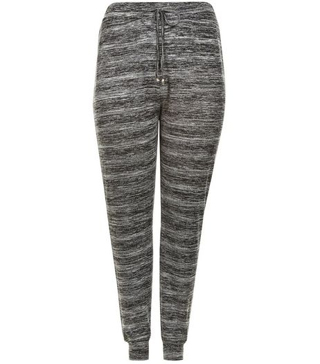 Curves Grey Space Dye Stud Trim Lounge Joggers  | New Look