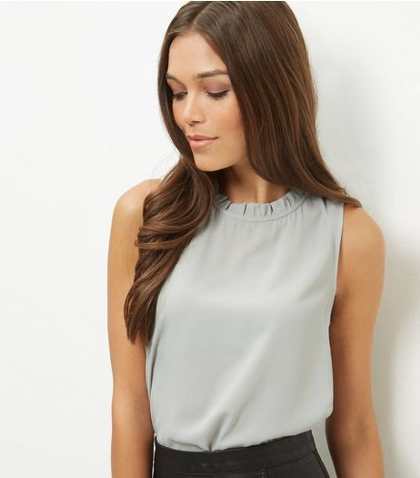 Pale Grey Ruffle Trim Sleeveless Blouse  | New Look