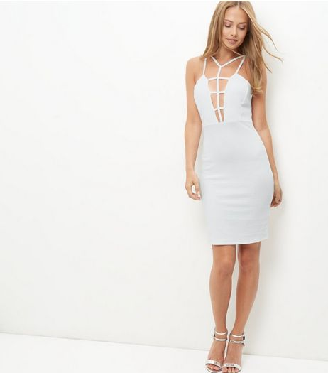 White Caged Front Bodycon Dress | New Look