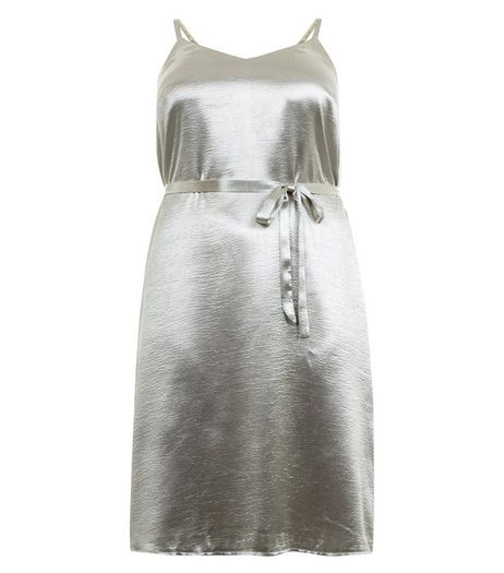 Curves Silver Metallic Slip Dress | New Look