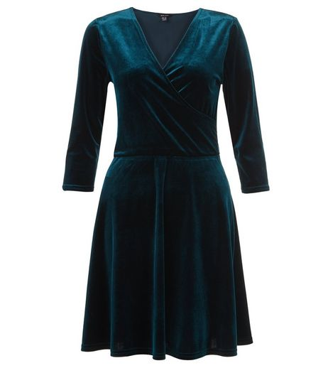 Dark Green Velvet Wrap Front Dress | New Look