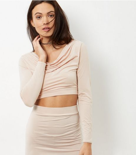Shell Pink Cowl Neck Long Sleeve Crop Top | New Look
