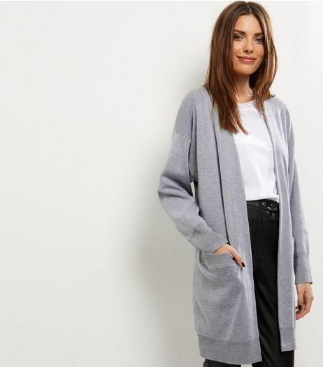 Grey Knitted Longline Cardigan  | New Look