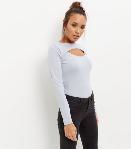 Blue Cut Out Long Sleeve Top  | New Look