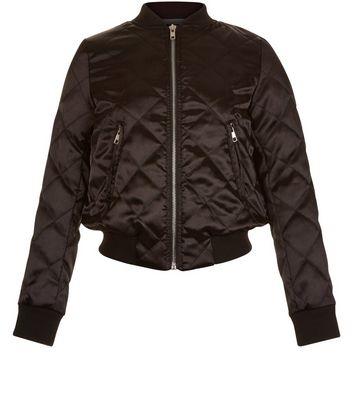 Girls Black Quilted Bomber Jacket