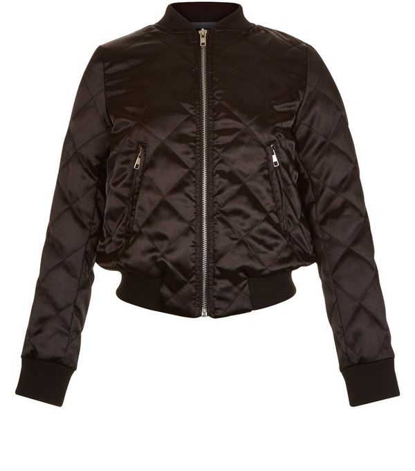Girls Black Quilted Bomber Jacket