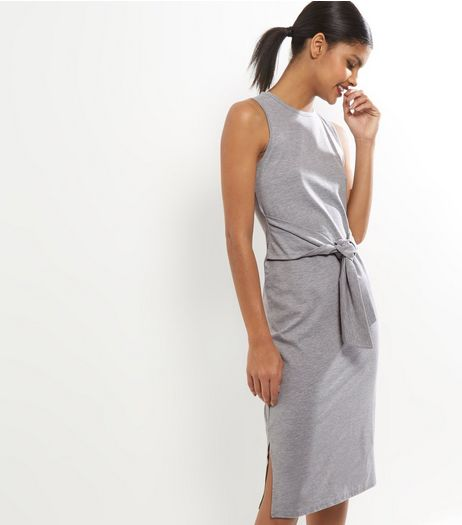 Grey Tie Waist Sleeveless Midi Dress | New Look