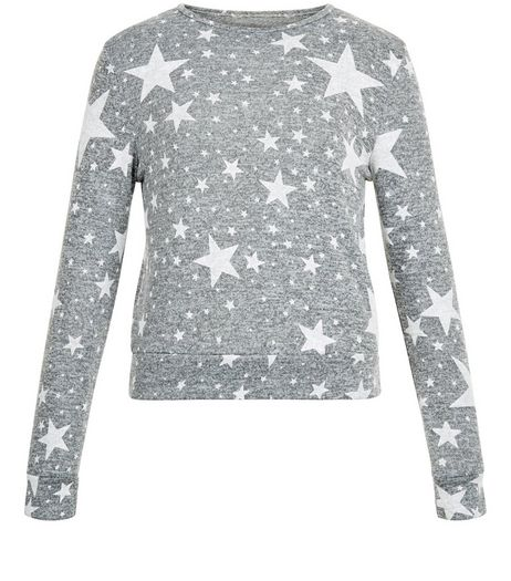 Girls Grey Star Print Jumper | New Look