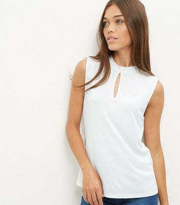 Cream Keyhole Funnel Neck Sleeveless Top