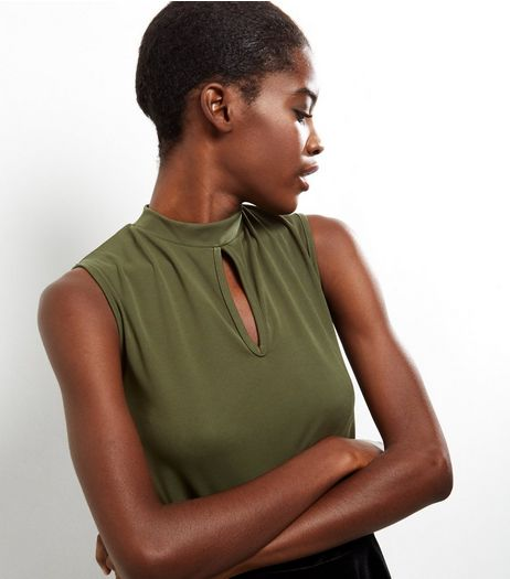 Khaki Keyhole Funnel Neck Sleeveless Top  | New Look