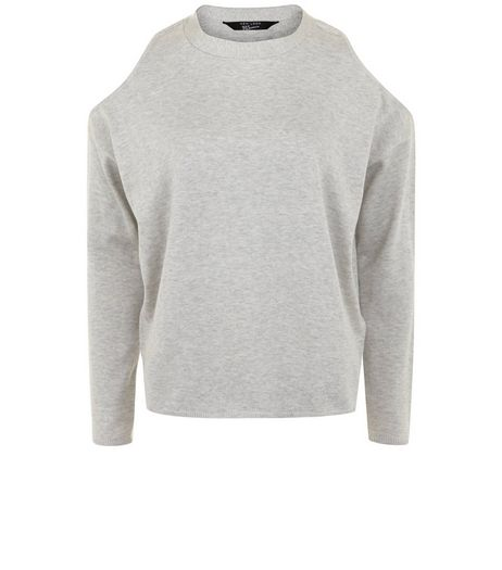 Teens Grey Fine Knit Cold Shoulder Jumper | New Look