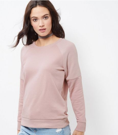 Shell Pink Ribbed Panel Sweater | New Look