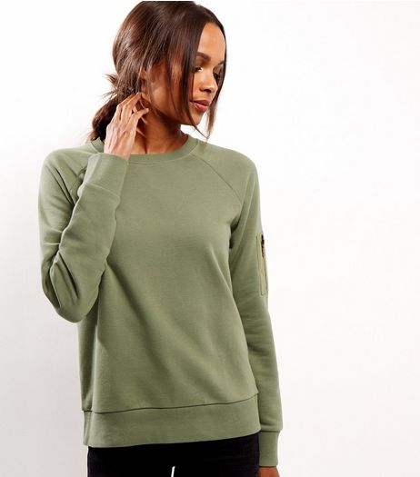 Khaki Zip Pocket Sleeve Sweater  | New Look