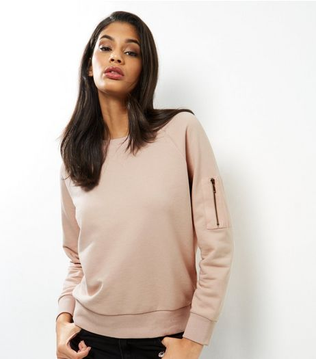 Pink Zip Pocket Sleeve Sweater | New Look